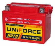 Аккумулятор  MOTO 12 V  UNIFORCE 12-4A 12В-В2 п.п.